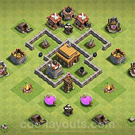 TH3 Anti 3 Stars Base Plan, Town Hall 3 Base Design 2020, #42
