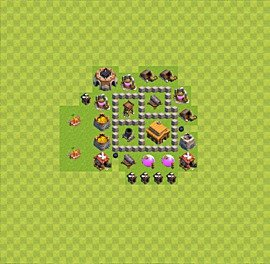 Base plan Town Hall level 3 for trophies (defence) (variant 5)