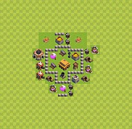 Base plan Town Hall level 3 for trophies (defence) (variant 6)