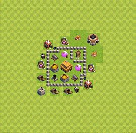 Base plan Town Hall level 3 for trophies (defence) (variant 7)