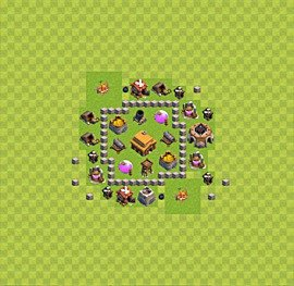 Base plan Town Hall level 3 for trophies (defence) (variant 8)