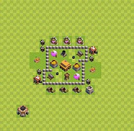 Base plan Town Hall level 3 for trophies (defence) (variant 9)