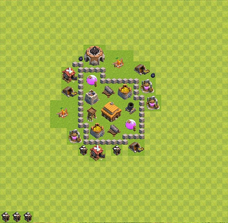 Base plan (layout) for trophies collecting TH  3 (Town Hall level 3, TH 3), variant 13