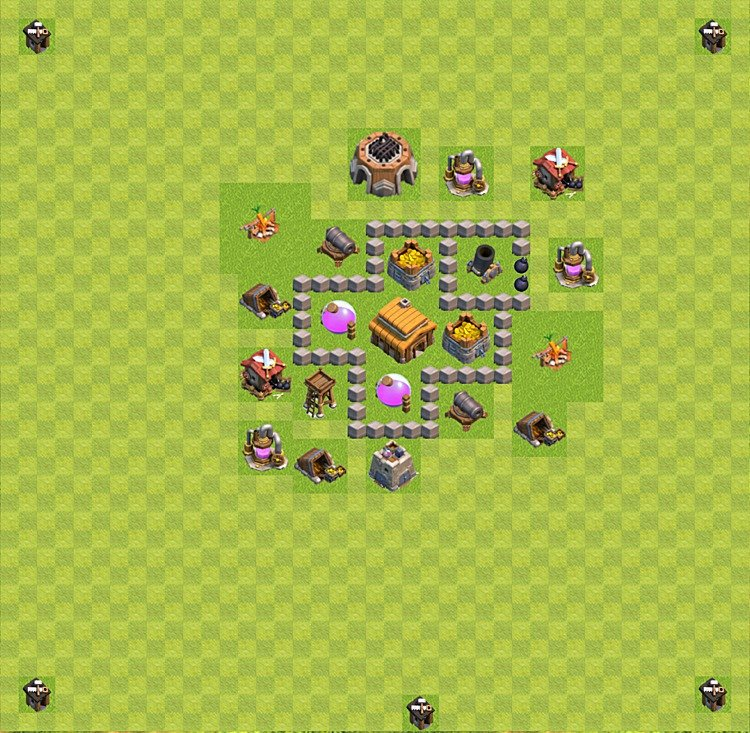 Base plan (layout) for trophies collecting TH  3 (Town Hall level 3, TH 3), variant 14