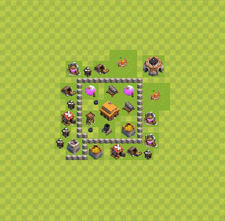 Base plan (layout) for trophies collecting TH  3 (Town Hall level 3, TH 3), variant 17