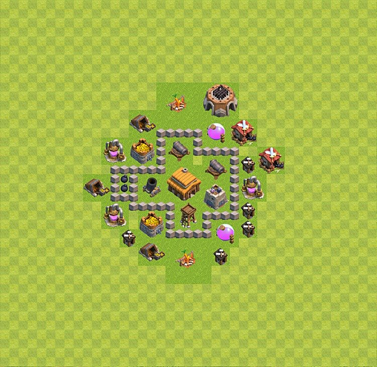 Base plan (layout) for trophies collecting TH  3 (Town Hall level 3, TH 3), variant 18