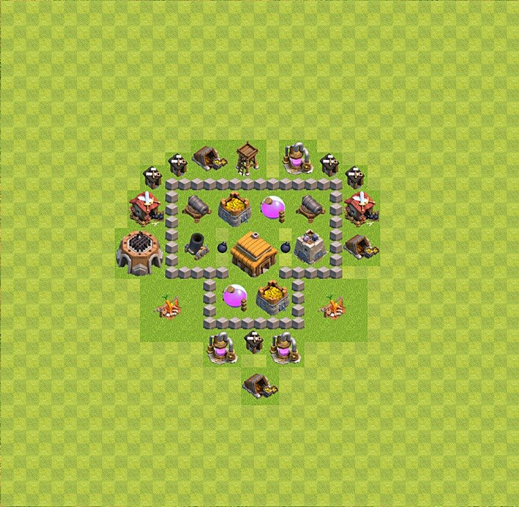Base plan (layout) for trophies collecting TH  3 (Town Hall level 3, TH 3), variant 26