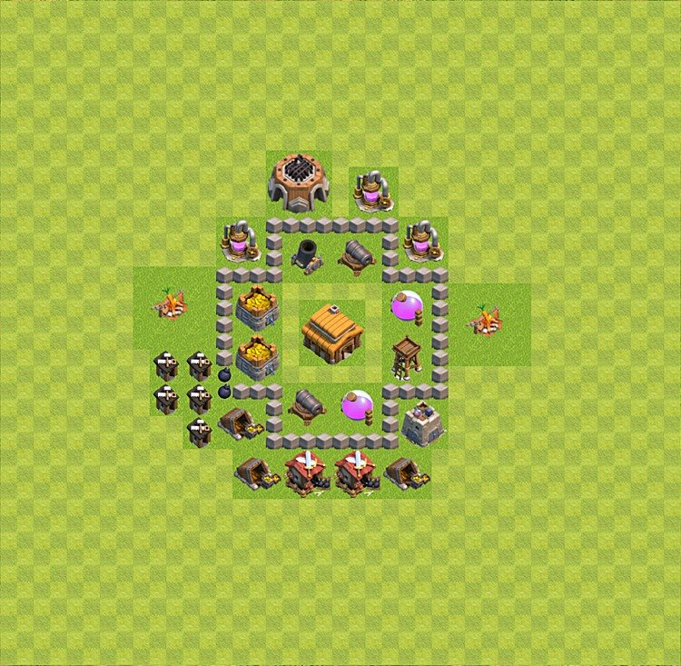 Base plan (layout) for trophies collecting TH  3 (Town Hall level 3, TH 3), variant 28