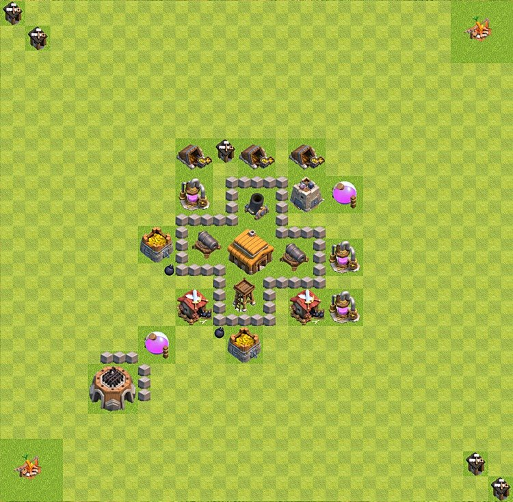 Base plan (layout) for trophies collecting TH  3 (Town Hall level 3, TH 3), variant 30
