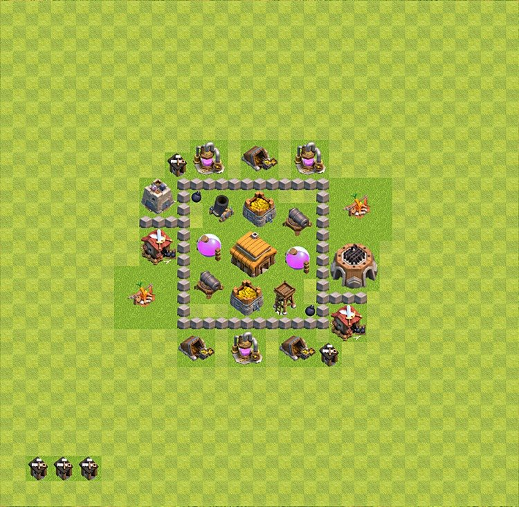 TH3 Trophy Base Plan, Town Hall 3 Base Design, #33
