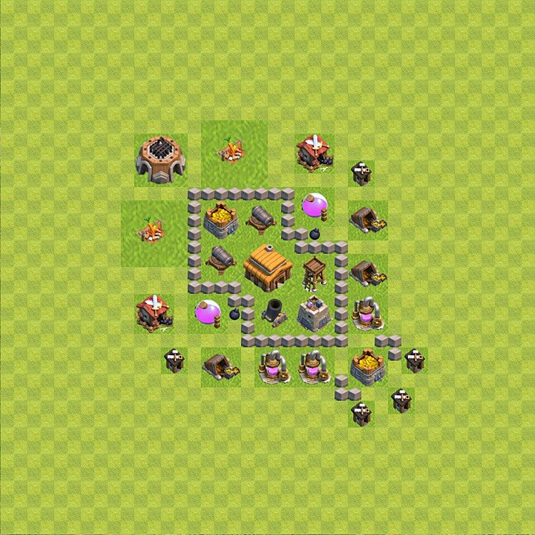 Base plan (layout) for trophies collecting TH  3 (Town Hall level 3, TH 3), variant 39