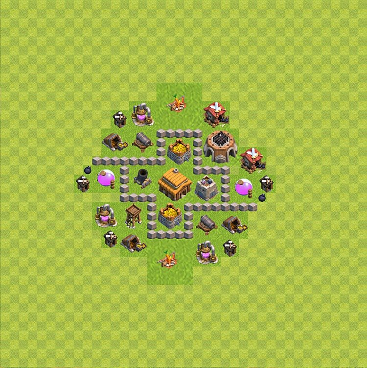 Base plan (layout) for trophies collecting TH  3 (Town Hall level 3, TH 3), variant 40