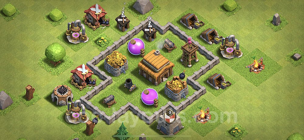 TH3 Trophy Base Plan, Town Hall 3 Base Design 2020, #41