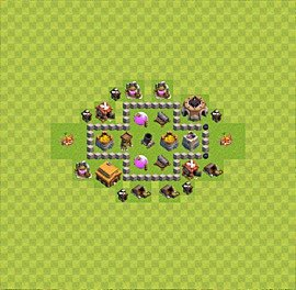Base plan Town Hall level 3 for farming (variant 1)