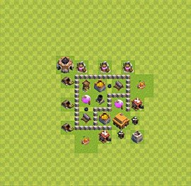 Base plan Town Hall level 3 for farming (variant 15)