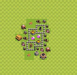 Base plan Town Hall level 3 for farming (variant 17)