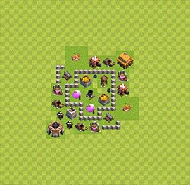Base plan Town Hall level 3 for farming (variant 18)
