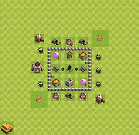 Base plan Town Hall level 3 for farming (variant 2)