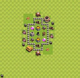 Base plan Town Hall level 3 for farming (variant 20)