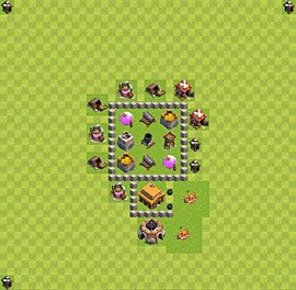 Base plan Town Hall level 3 for farming (variant 21)