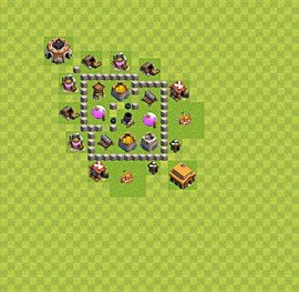 Base plan Town Hall level 3 for farming (variant 22)