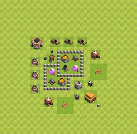 Base plan Town Hall level 3 for farming (variant 23)