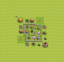 Base plan Town Hall level 3 for farming (variant 24)