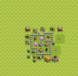 Base plan Town Hall level 3 for farming (variant 26)