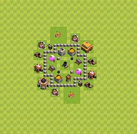 Base plan Town Hall level 3 for farming (variant 27)