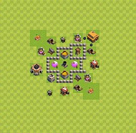 Base plan Town Hall level 3 for farming (variant 28)