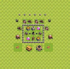 Base plan Town Hall level 3 for farming (variant 29)