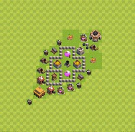 Base plan Town Hall level 3 for farming (variant 3)
