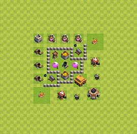Base plan Town Hall level 3 for farming (variant 30)