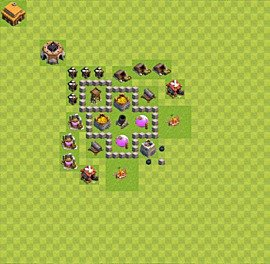 Base plan Town Hall level 3 for farming (variant 32)