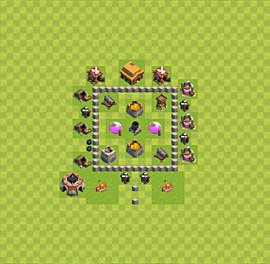 Base plan Town Hall level 3 for farming (variant 34)