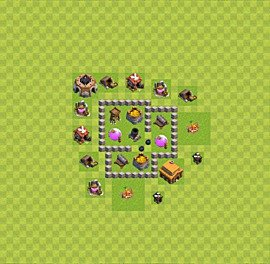 Base plan Town Hall level 3 for farming (variant 35)