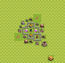 Base plan Town Hall level 3 for farming (variant 36)