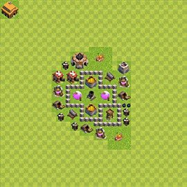 Base plan Town Hall level 3 for farming (variant 42)