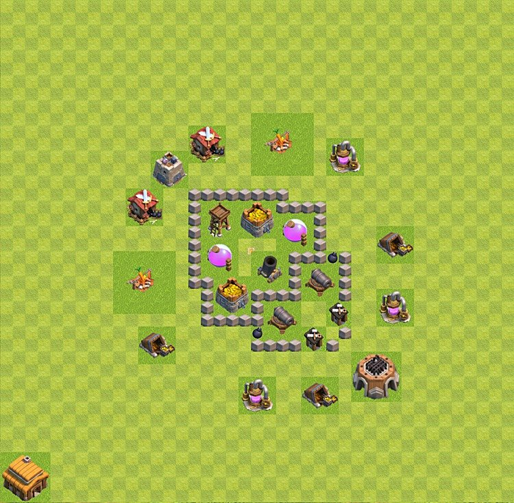 Base plan (layout) for farming TH 3 (Town Hall level 3), TH, th}), variant 25
