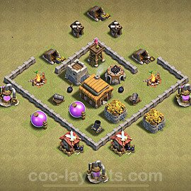 TH3 Max Levels War Base Plan, Town Hall 3 Design 2020, #1