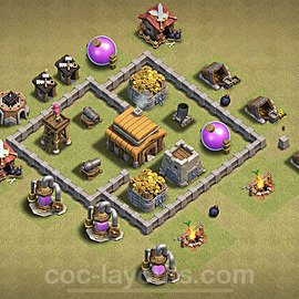 TH3 Max Levels War Base Plan, Town Hall 3 Design 2020, #12