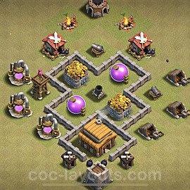 TH3 Max Levels War Base Plan, Town Hall 3 Design 2021, #14