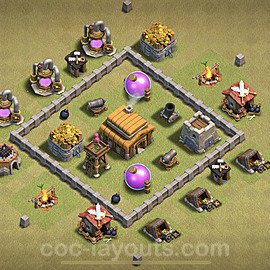 TH3 Anti 2 Stars War Base Plan, Town Hall 3 Design 2021, #16