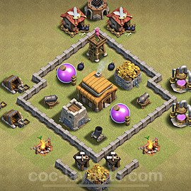 TH3 Anti 3 Stars War Base Plan, Town Hall 3 Design 2021, #17