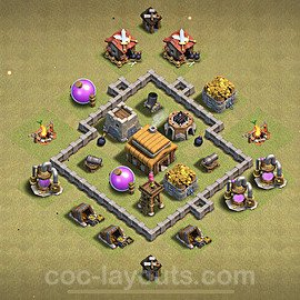 TH3 Anti 2 Stars War Base Plan, Town Hall 3 Design 2020, #2