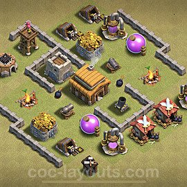 TH3 Anti 2 Stars War Base Plan, Town Hall 3 Design 2020, #4