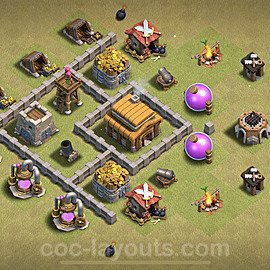 TH3 Anti 2 Stars War Base Plan, Town Hall 3 Design 2020, #5