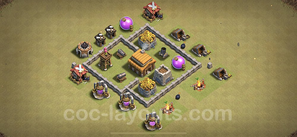 TH3 Max Levels War Base Plan, Town Hall 3 Design 2021, #12