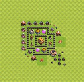 Base plan Town Hall level 4 for trophies (defence) (variant 11)