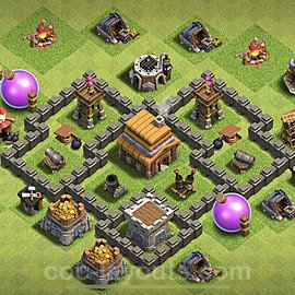 TH4 Anti 2 Stars Base Plan with Link, Copy Town Hall 4 Base Design 2020, #111